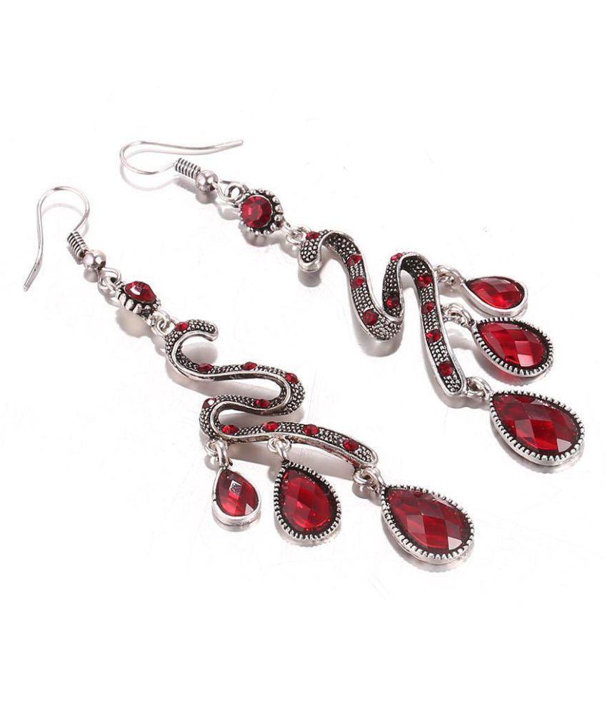 Women Ethnic Peacock Long Earrings Water Drop Rhinestone Dangle Hook Earrings