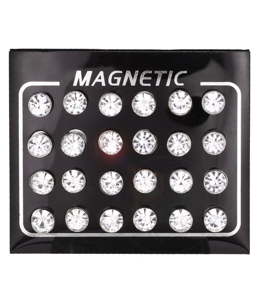 Women Round Rhinestone Magnetic Ear Stud Earrings Magnet Ear Stud Jewelry