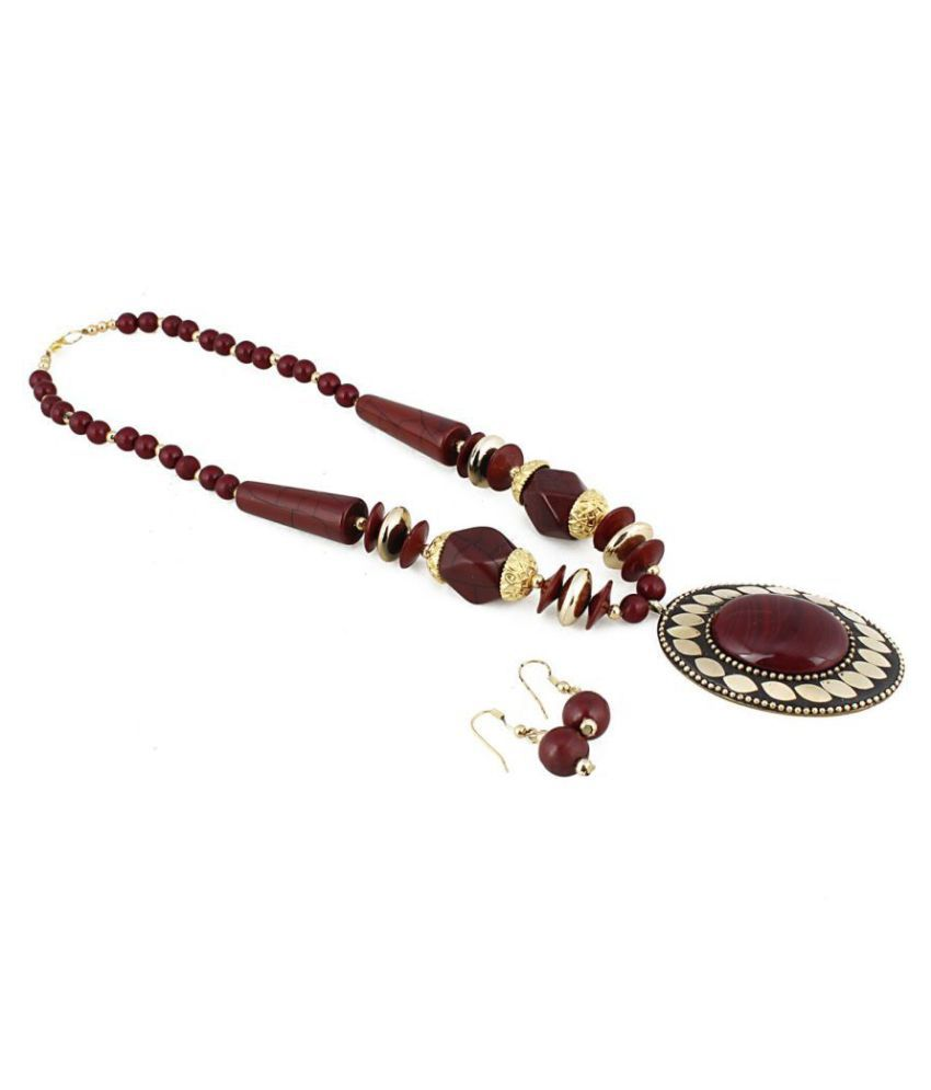 Catalyst Brass Red Contemporary Designer Gold Plated Necklaces Set
