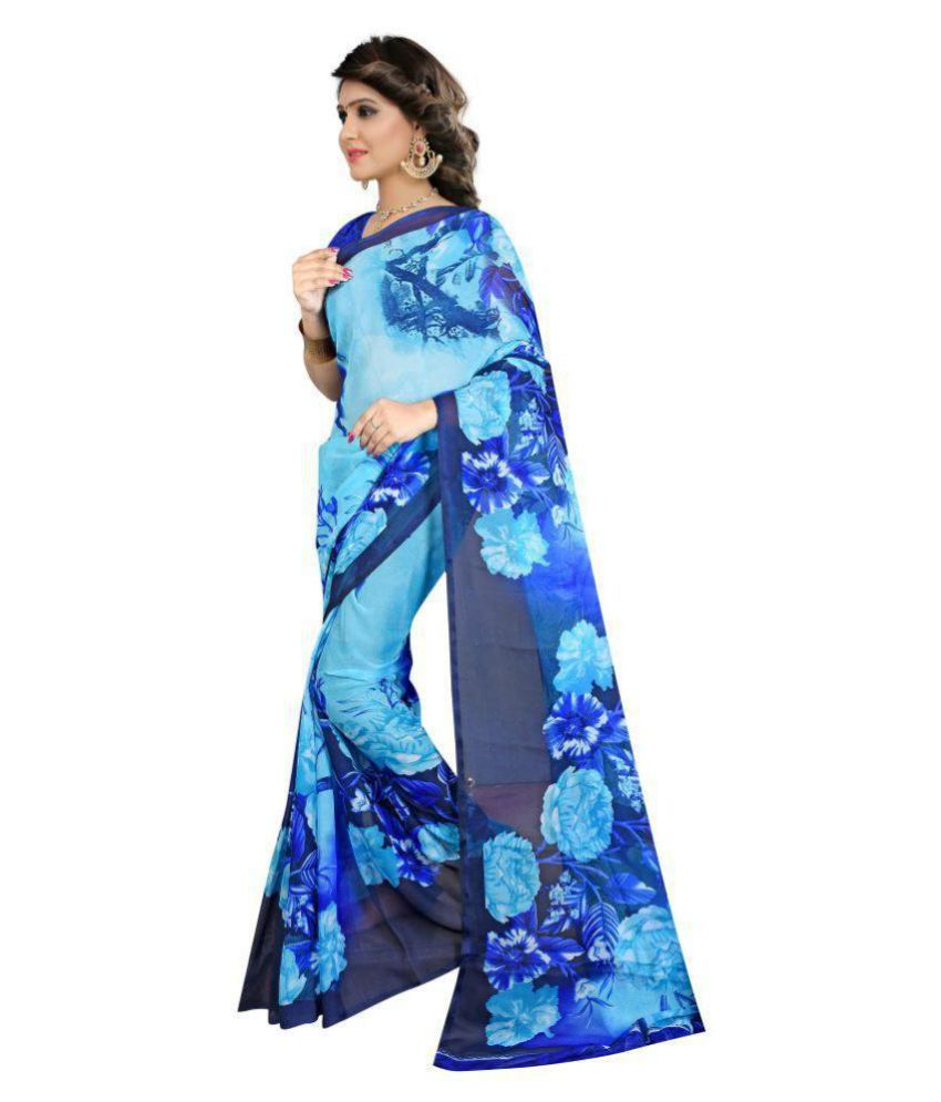 FINETHREAD Blue Renial Saree