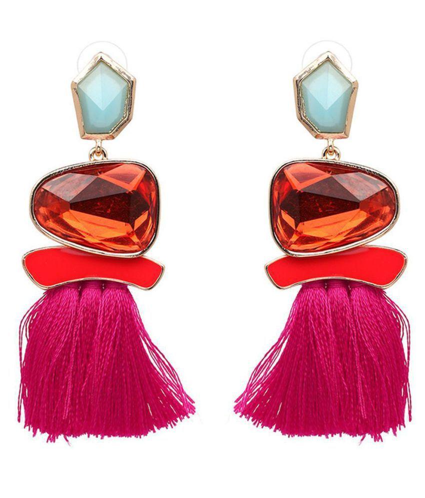 Women Fashion Imitated Crystal Long Tassel Dangle Earrings Fringe Drop Earrings