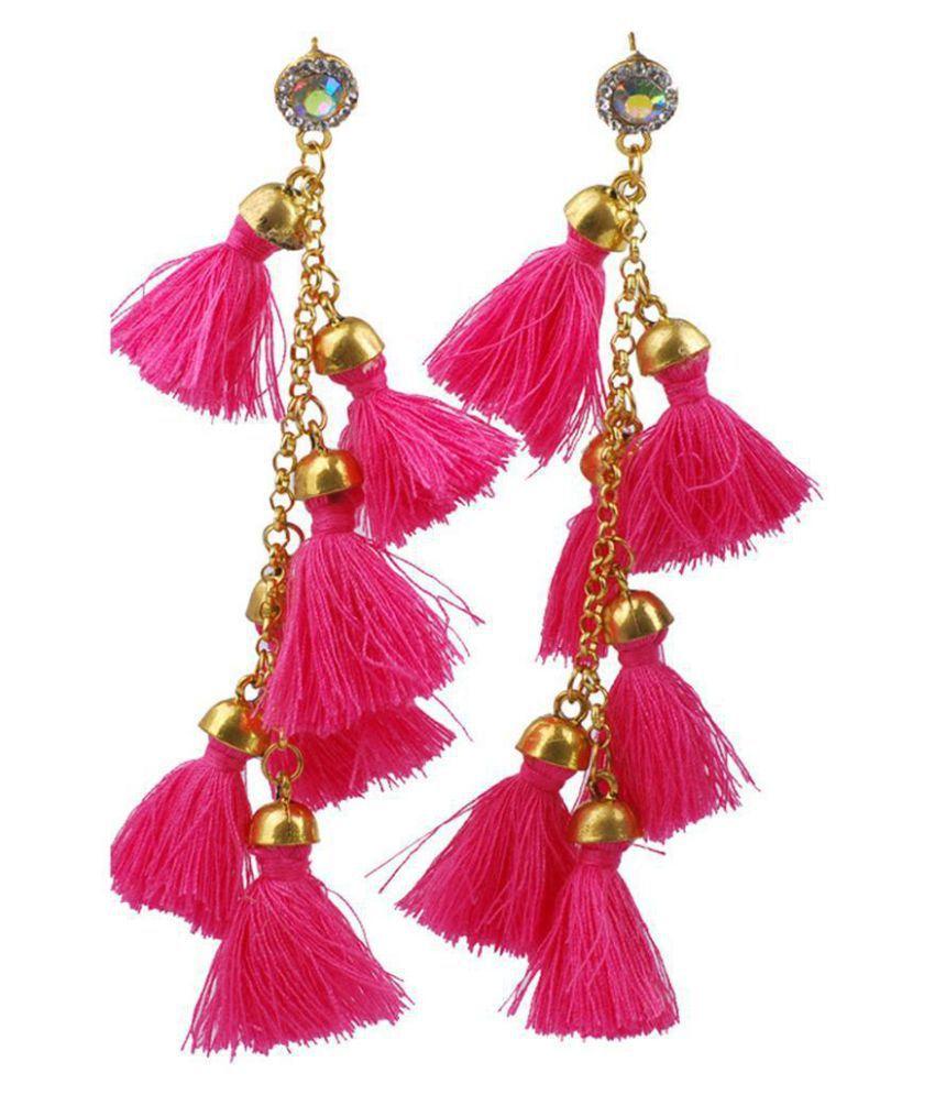 Women Vintage Style Crystal Tassel String Pendant Earring Dangle Long Earrings
