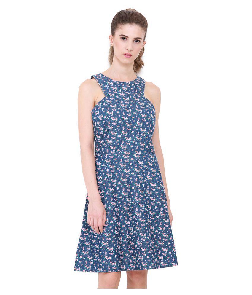 HEATHER HUES Cotton Blue A- line Dress