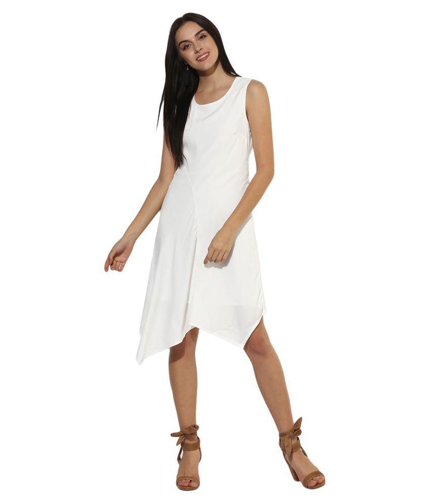 HEATHER HUES Cotton White Sheath Dress