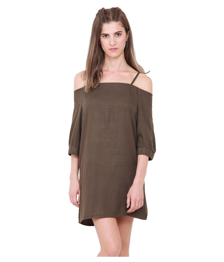 HEATHER HUES Polyester Brown A- line Dress