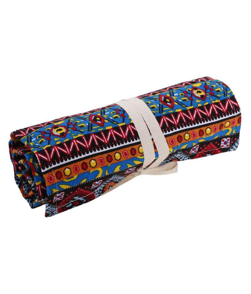 Hole Canvas Wrap Roll Up Pencil Case Pen Brush Bag Holder Storage Pouch