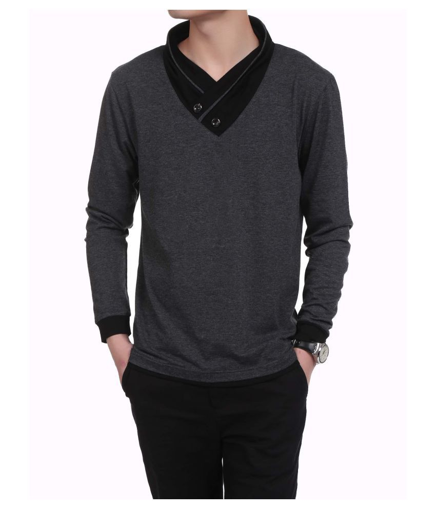 Men Casual Long Sleeve V Neck Patchwork Slim Contrast Color Pullover Fashion T-Shirt