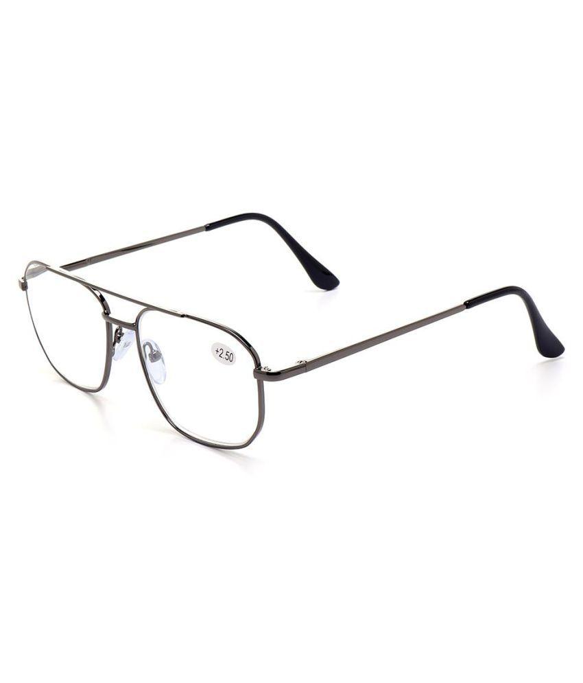 Men Large Lens Metal Square Frame Spring Leg Business Style Reading Glasses