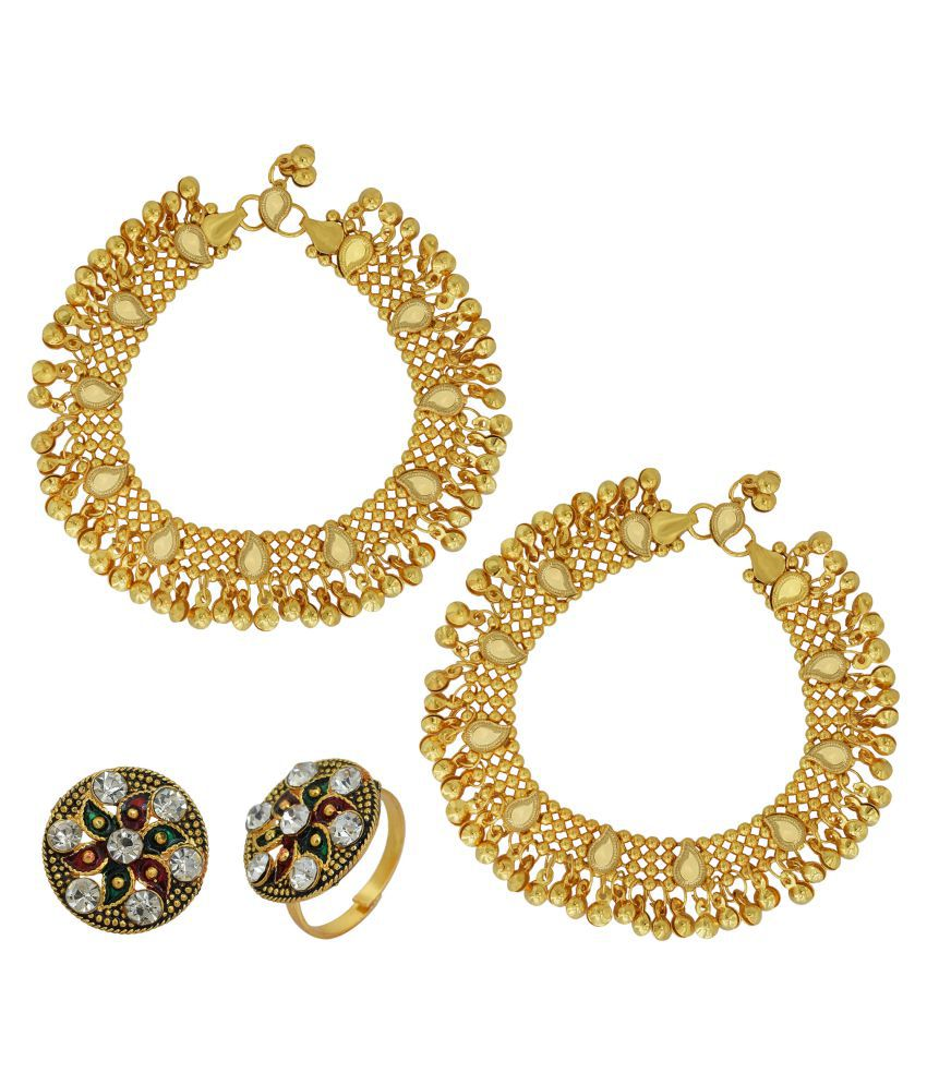 DzineTrendz 24KT Yellow Gold Plated, Combo of Multi Strand, Cz Studded , Simple,Stylish, Payal, Pajeb Anklet, with Matching Gold Plated Toerings, Women