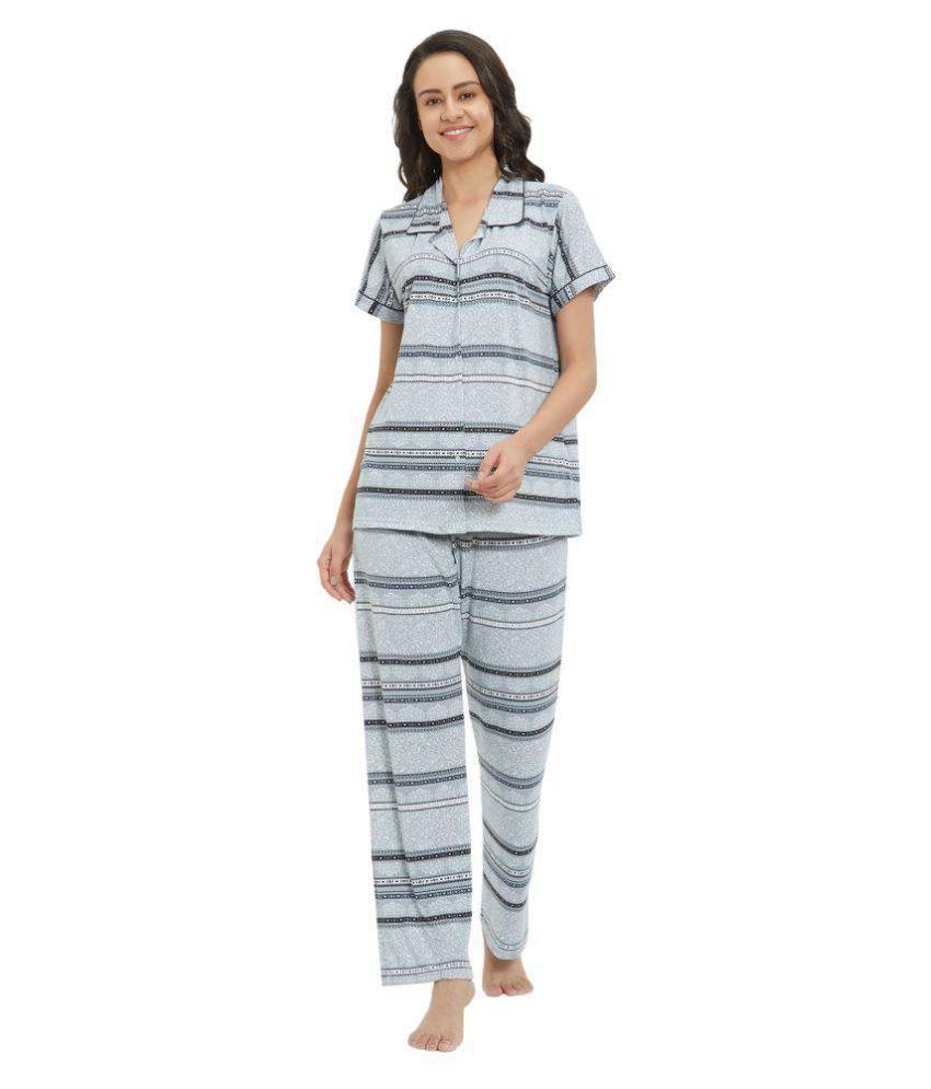 Velvet By Night Hosiery Nightsuit Sets - Grey