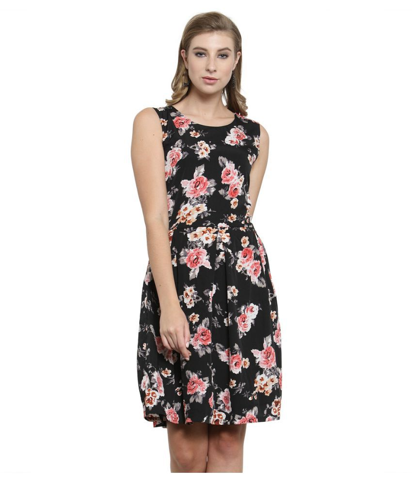 Color Cocktail Crepe Black A- line Dress