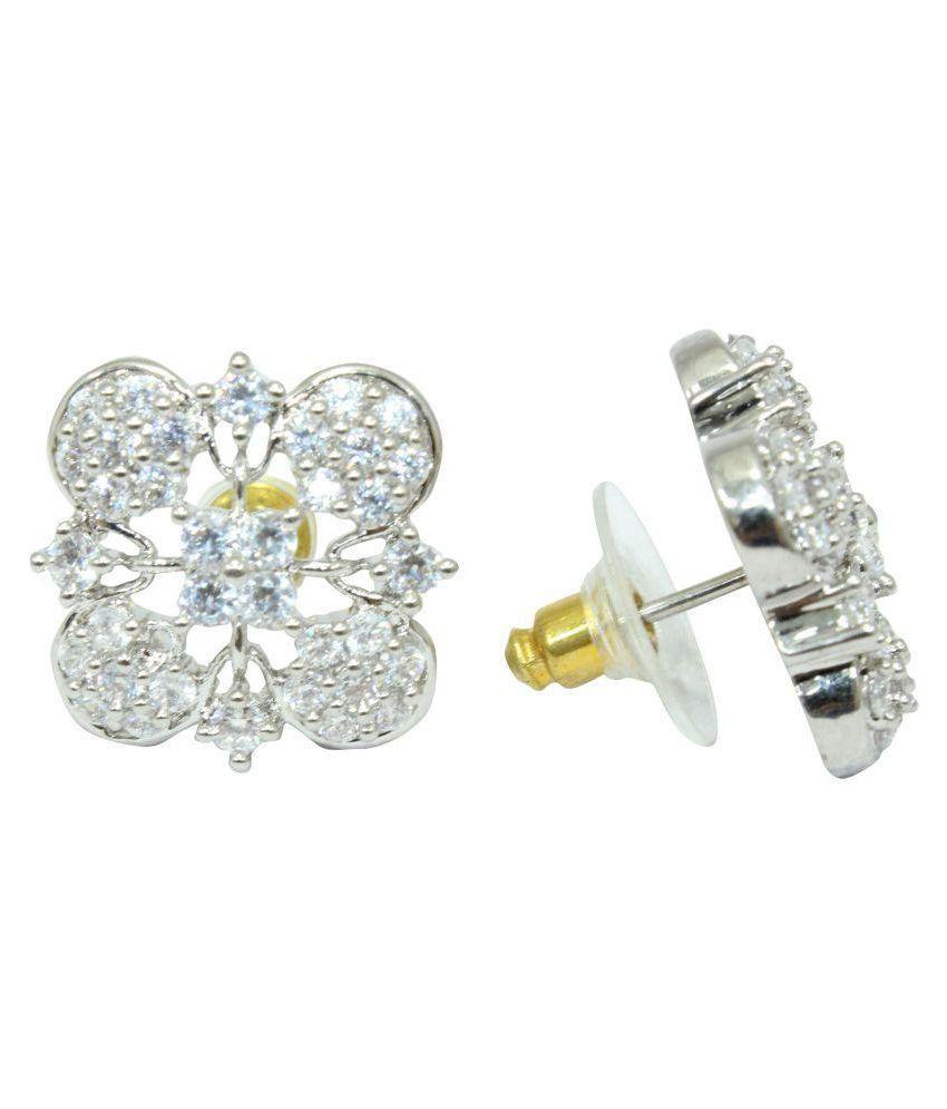 a748f7d07da Ear tops studs Earrings white Gold Plated white Zircon Stones flower design  - Buy Ear tops studs Earrings white Gold Plated white Zircon Stones flower  ...