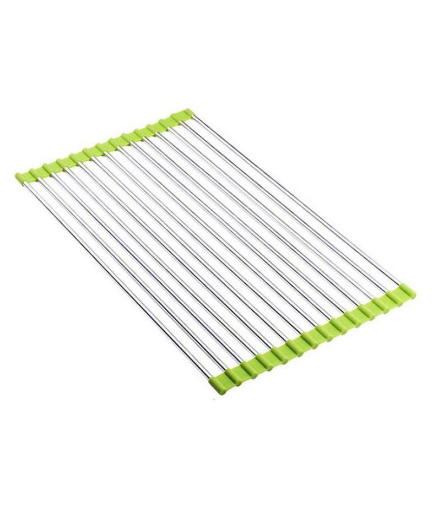 Kitchen Roll-up Dish Drying Rack Stainless Steel Over Sink Foldable Drainer