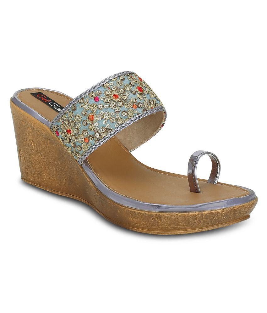 Get Glamr Gray Wedges Heels