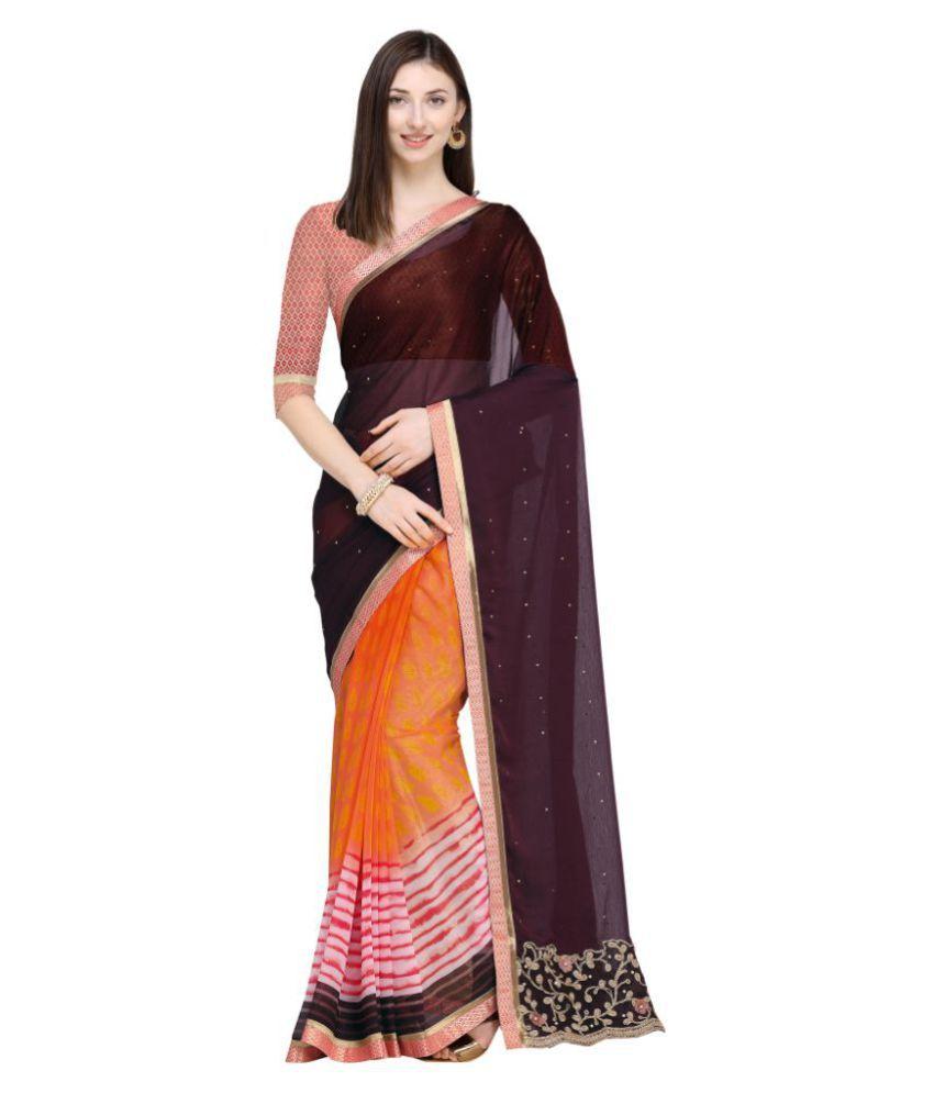 Aagaman Fashions Brown and Pink Chiffon Saree