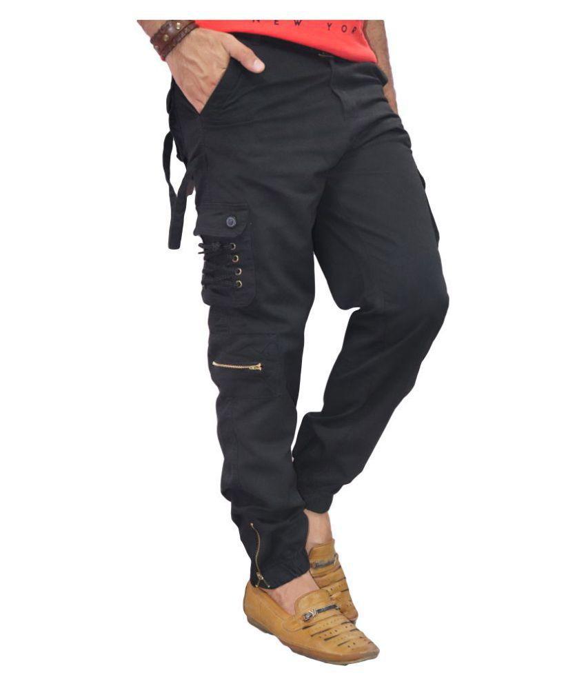 POOL CLUB Black Regular -Fit Flat Cargos