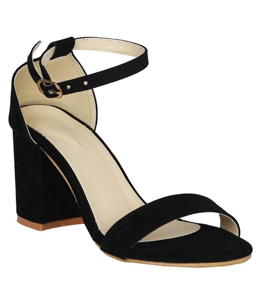 1988a034f350 SHOFIEE Black Block Ankle Strap Heels SHOFIEE Black Block Ankle Strap Heels  ...