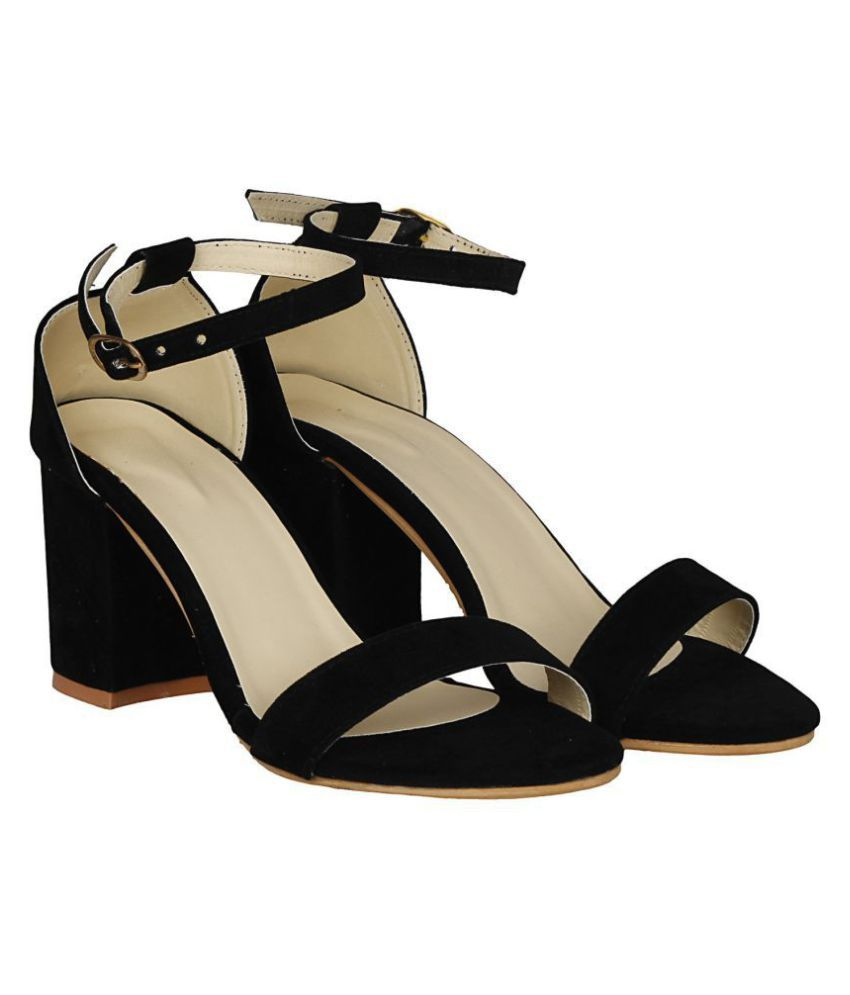 061e1a92fff5 SHOFIEE Black Block Ankle Strap Heels Price in India- Buy SHOFIEE ...