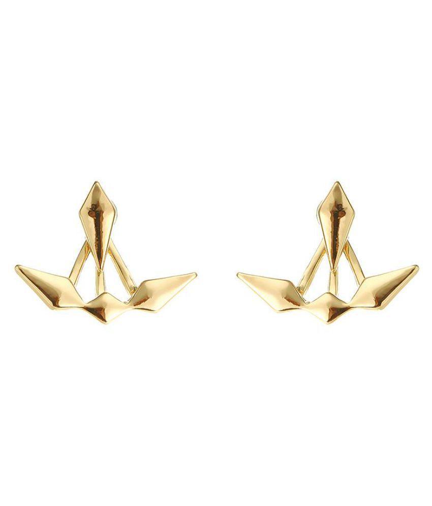 Trendy Geometric Punk Gold Silver Ear Stud Double Side Earrings Jacket Accessories