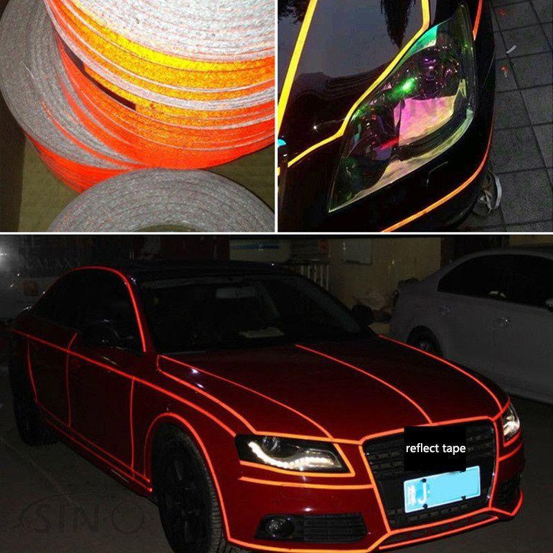 1Pc - 5 Meter Universal Car Body Rim Reflective Self-Adhesive Stripe  Sticker Tape - 5m x 1cm - Black Color