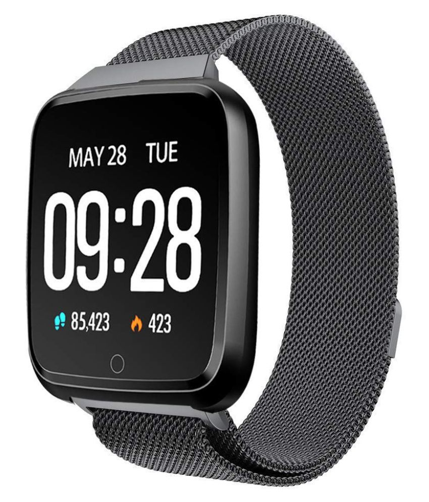 OPTA SB-076 U-WearFit Bluetooth Fitness Band Smart Watch for Android, iOS Devices (Black Steel)