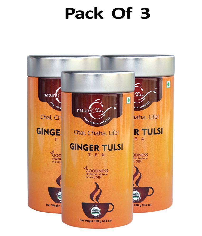 nature Chai Ginger Tulsi Tea Loose Leaf 100 gm Pack of 3