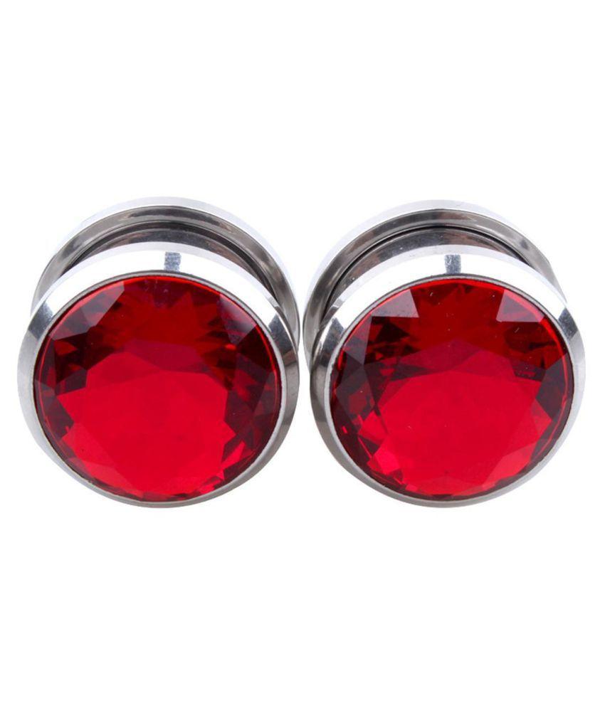 Fashion 1 Piece Crystal Decor Ear Gauges Ear Plugs Stainless Steel Unisex