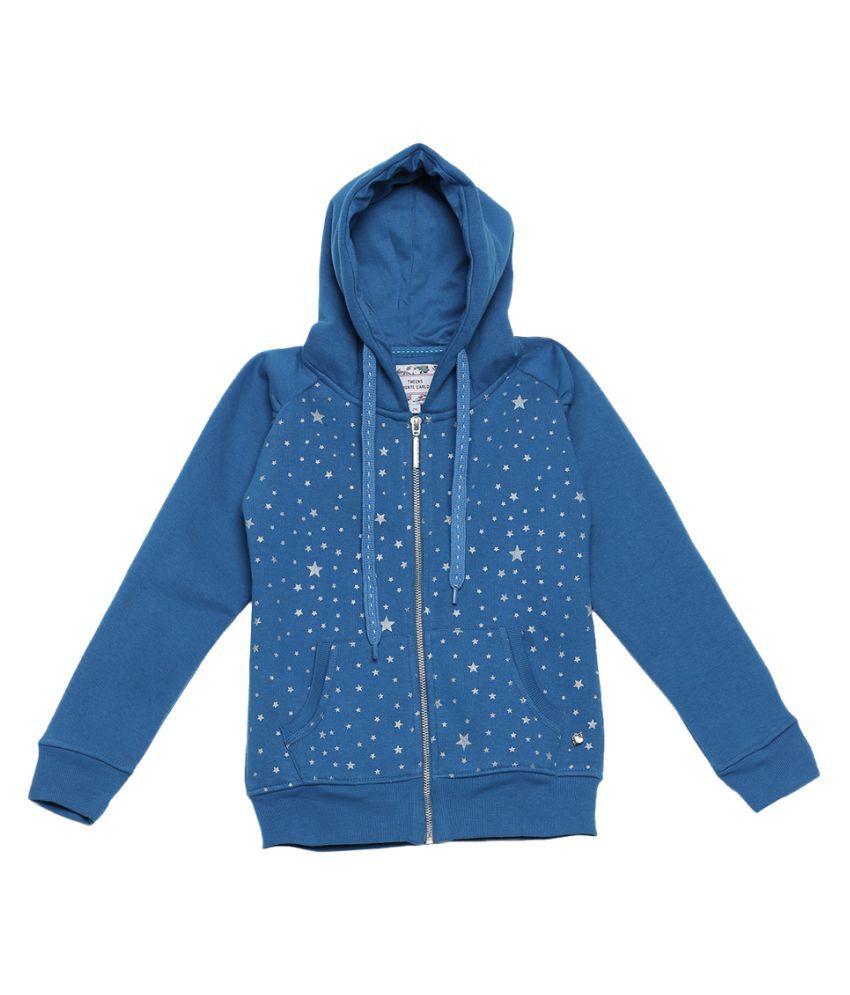 Monte Carlo Blue Printed Cotton Hood Sweatshirts