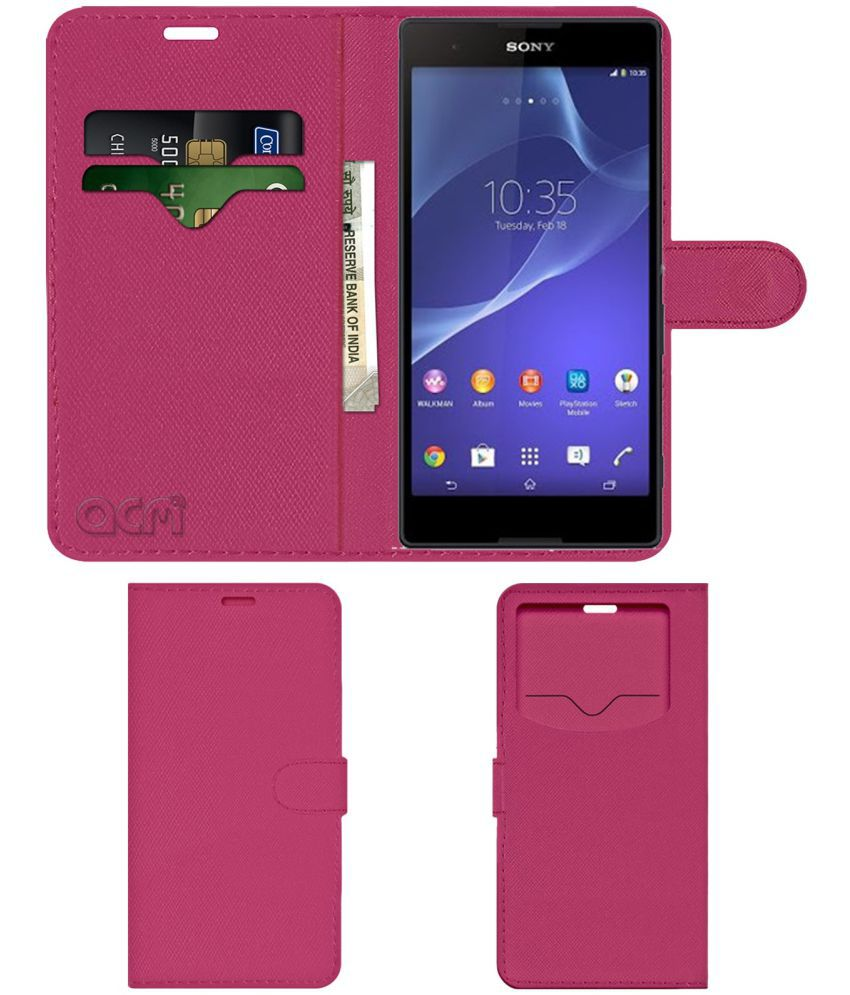 Sony Xperia T2 Ultra Flip Cover by ACM - Pink Wallet Case,Can store 2 Card & 1 Cash Pockets