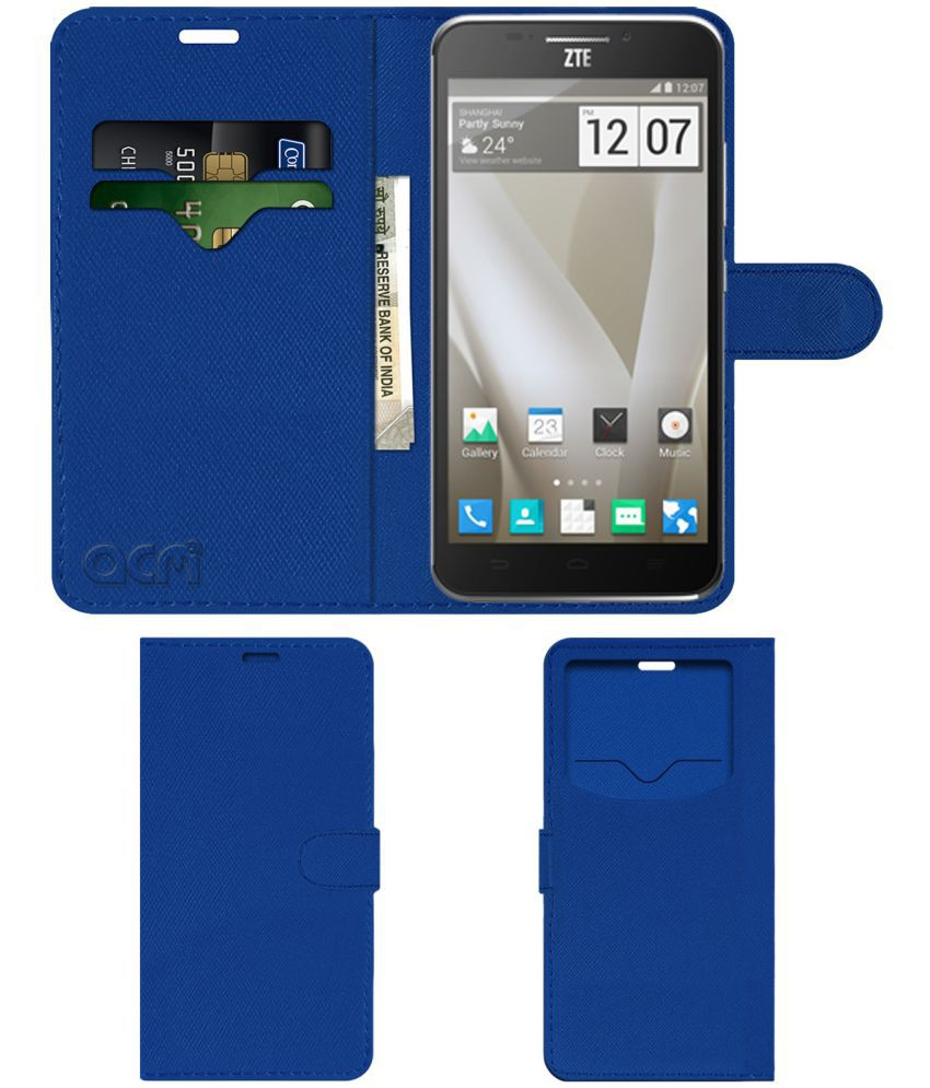 ZTE Grand S2 Flip Cover by ACM - Blue Wallet Case,Can store 2 Card & 1 Cash Pockets