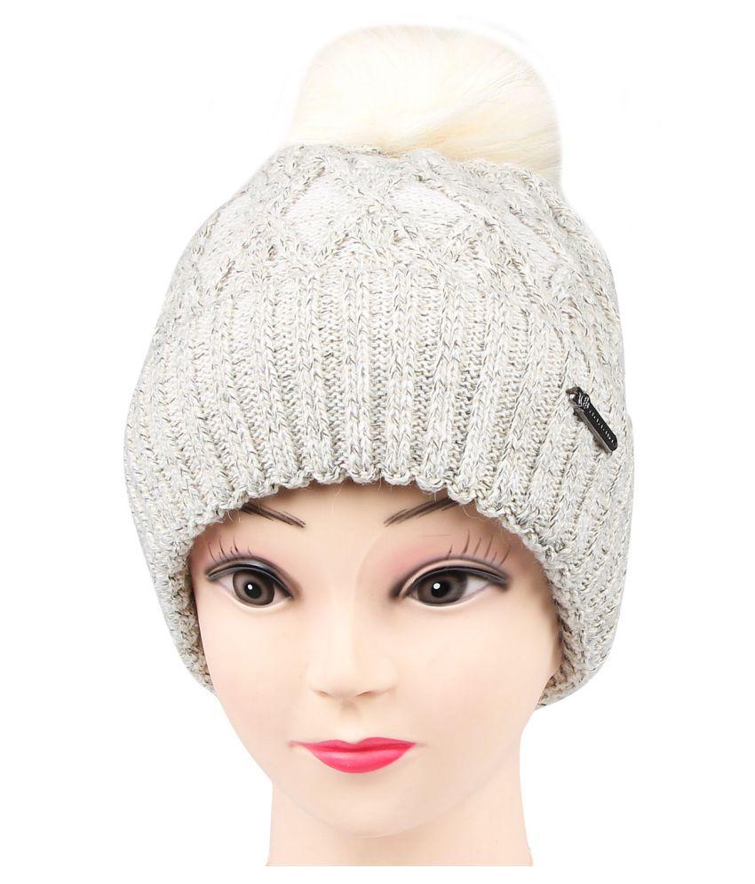 a5cf9513453 Bongio women s Beige winter Woolen cap  Buy Online at Low Price in India -  Snapdeal