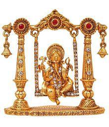 SCrazeHub Brass Ganesha Idol Decorative Show Piece - (7 cms Height)- Pack of 1
