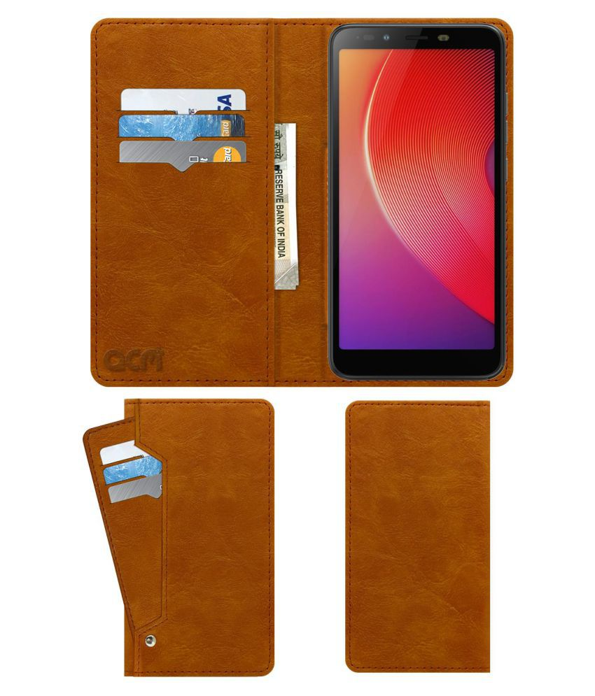 Infinix Smart 2 Flip Cover by ACM - Golden Wallet Case,Can store 6 Card & Cash,Classic Golden