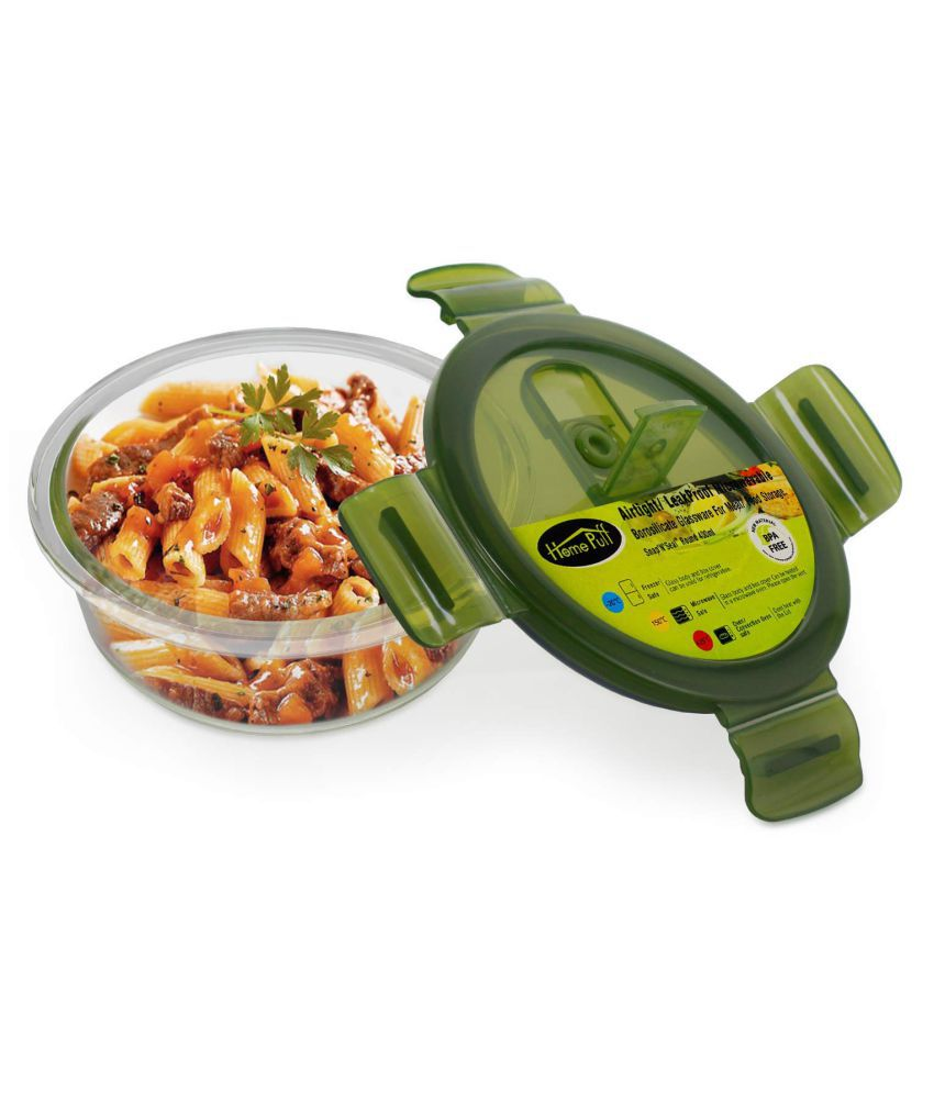 Home Puff Green Glass Lunch Box