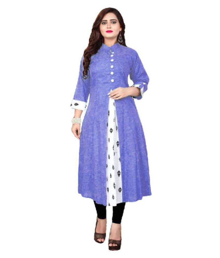 Limbudi creation Blue Khadi Anarkali Kurti