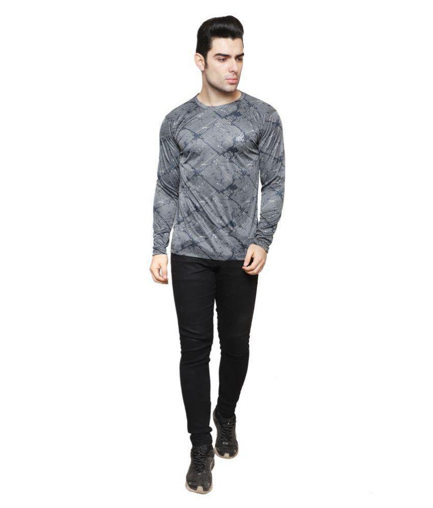 iSHU Printed Men's Full Sleeve Round Neck Light Black T-shirt