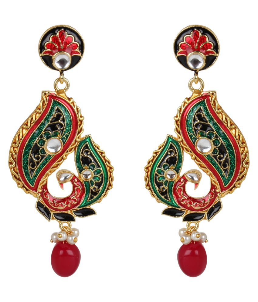 Steorra Jewels Medium Green Red floral Droplets high gold plated brass and copper partywear Dangler earrings for women and Girls