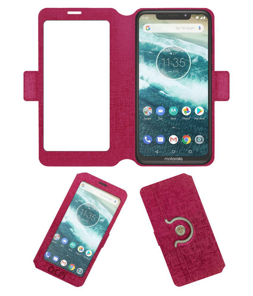 new concept 669a0 c9df7 Motorola One Power Flip Cover by ACM - Pink Dual Side Stand