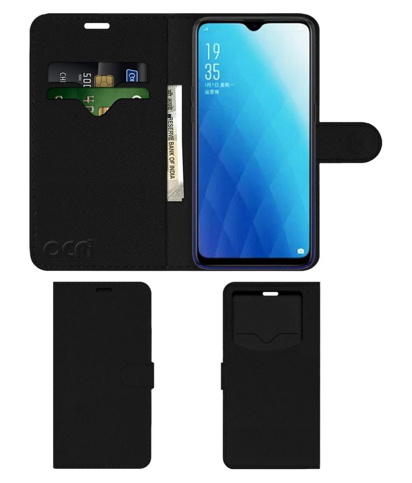 competitive price c1a27 42ee1 Oppo A7 Flip Cover by ACM - Black Wallet Case,Can store 2 Card & 1 Cash  Pockets