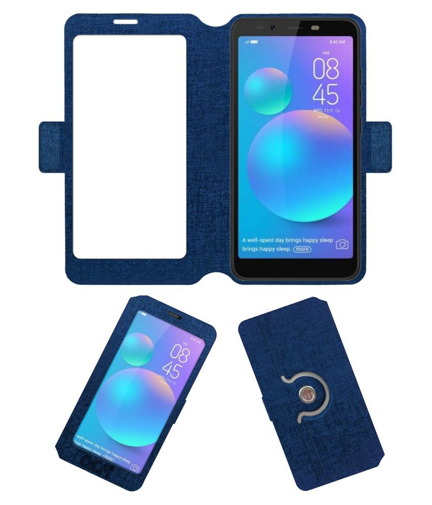 online store 054fd 96350 Tecno Camon i ACE Flip Cover by ACM - Blue Dual Side Stand