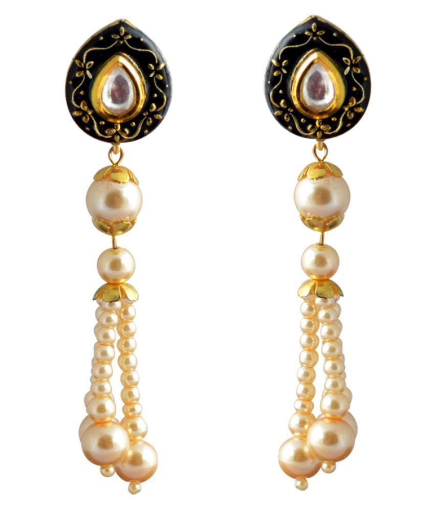 Meenakari Pearl String Stud Earrings Midnight Black