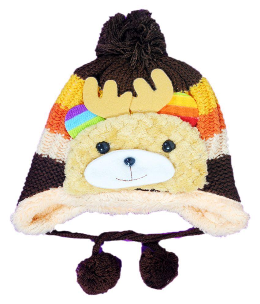 Kids Stylish Winter Cap/ Woollen Cap (Brown)