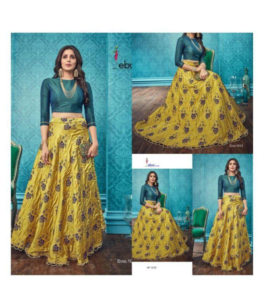 83edc6dfa21 Kalash Creation Yellow and Green Banarasi Silk Circular Stitched Lehenga -  Buy Kalash Creation Yellow and Green Banarasi Silk Circular Stitched  Lehenga ...