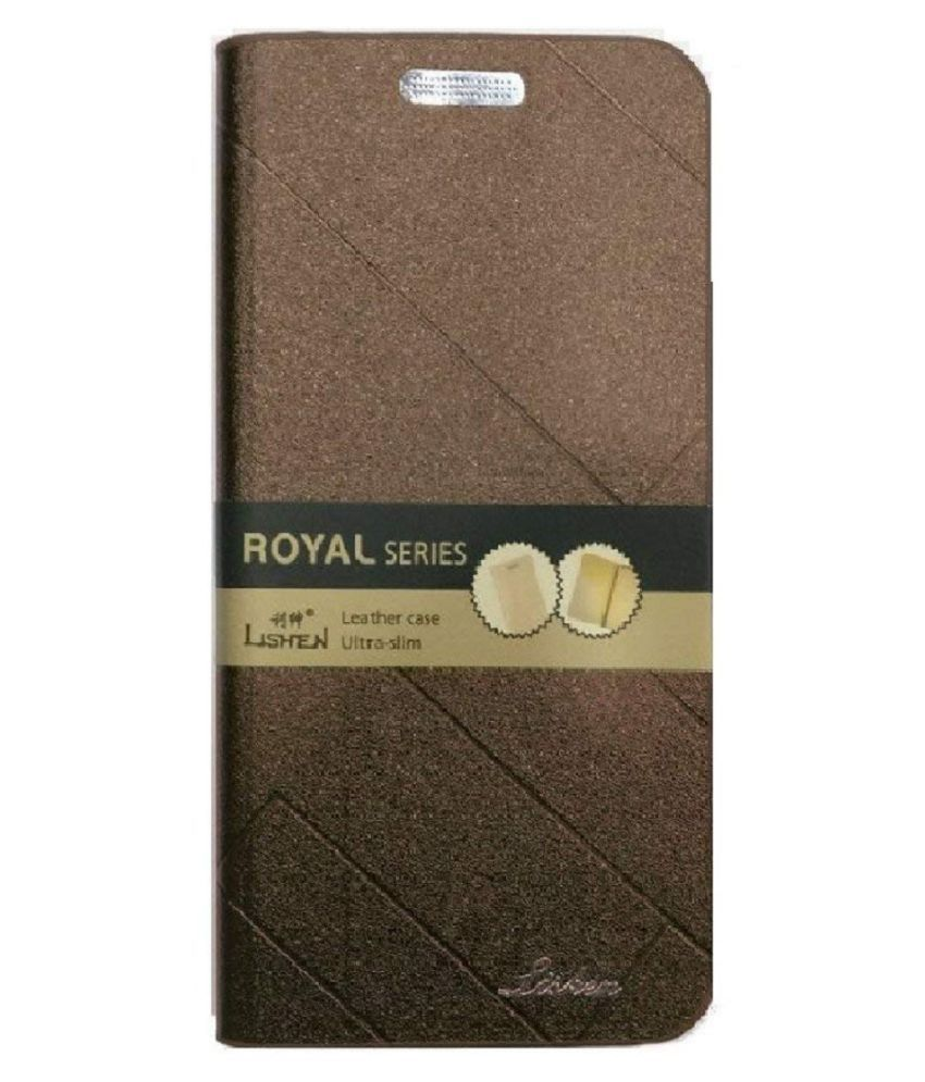 Xiaomi Redmi 5 Flip Cover by VinyakMobile - Brown Lishen Flip Cover