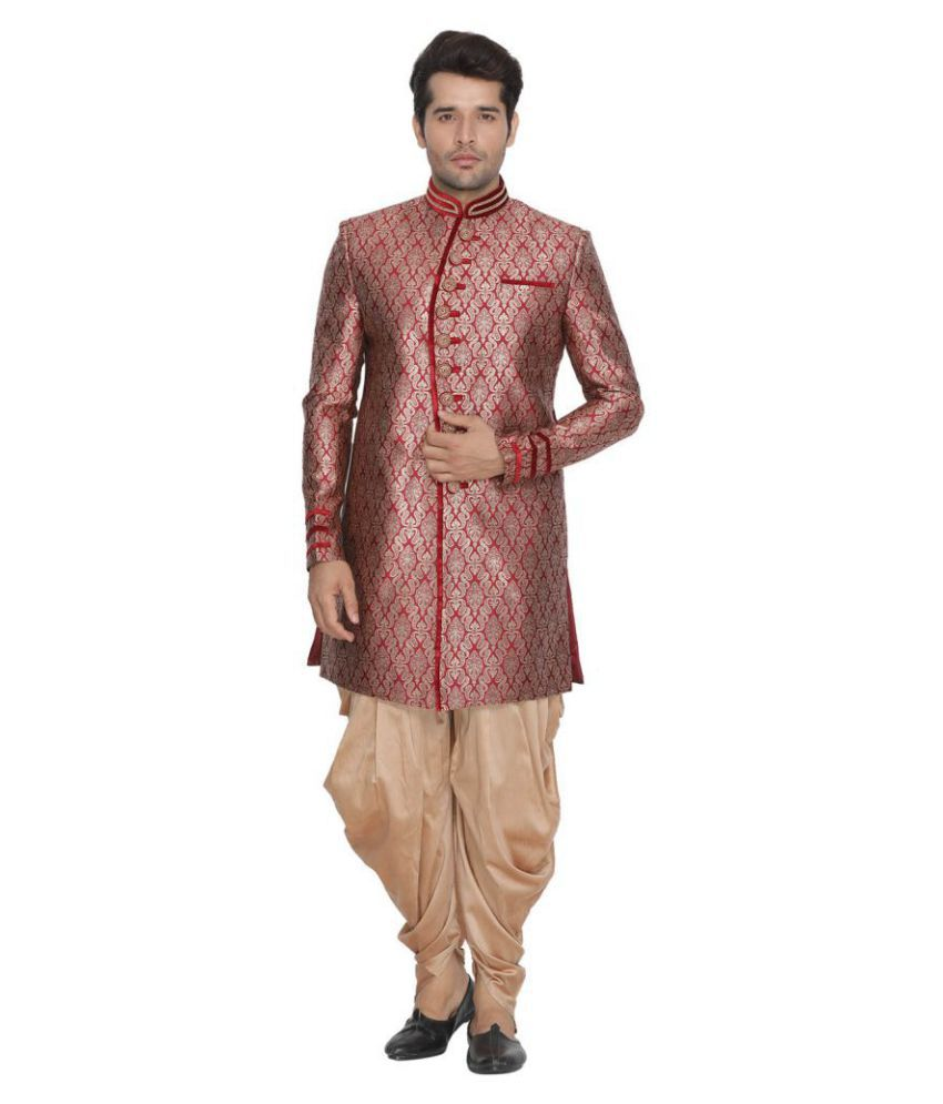 96e379ed77 Vastramay Maroon Cotton Blend Sherwani - Buy Vastramay Maroon Cotton Blend Sherwani  Online at Low Price in India - Snapdeal