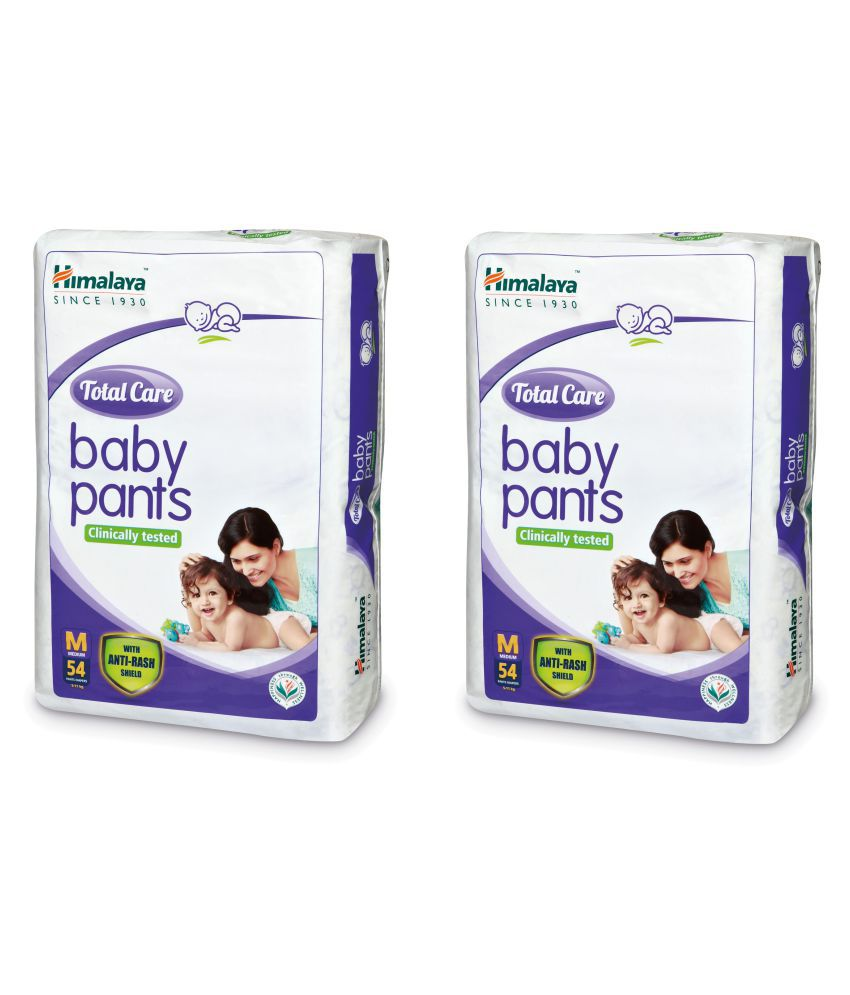 Himalaya Total Care Medium Size Baby Pants Diapers (54 Count) Pack of 2