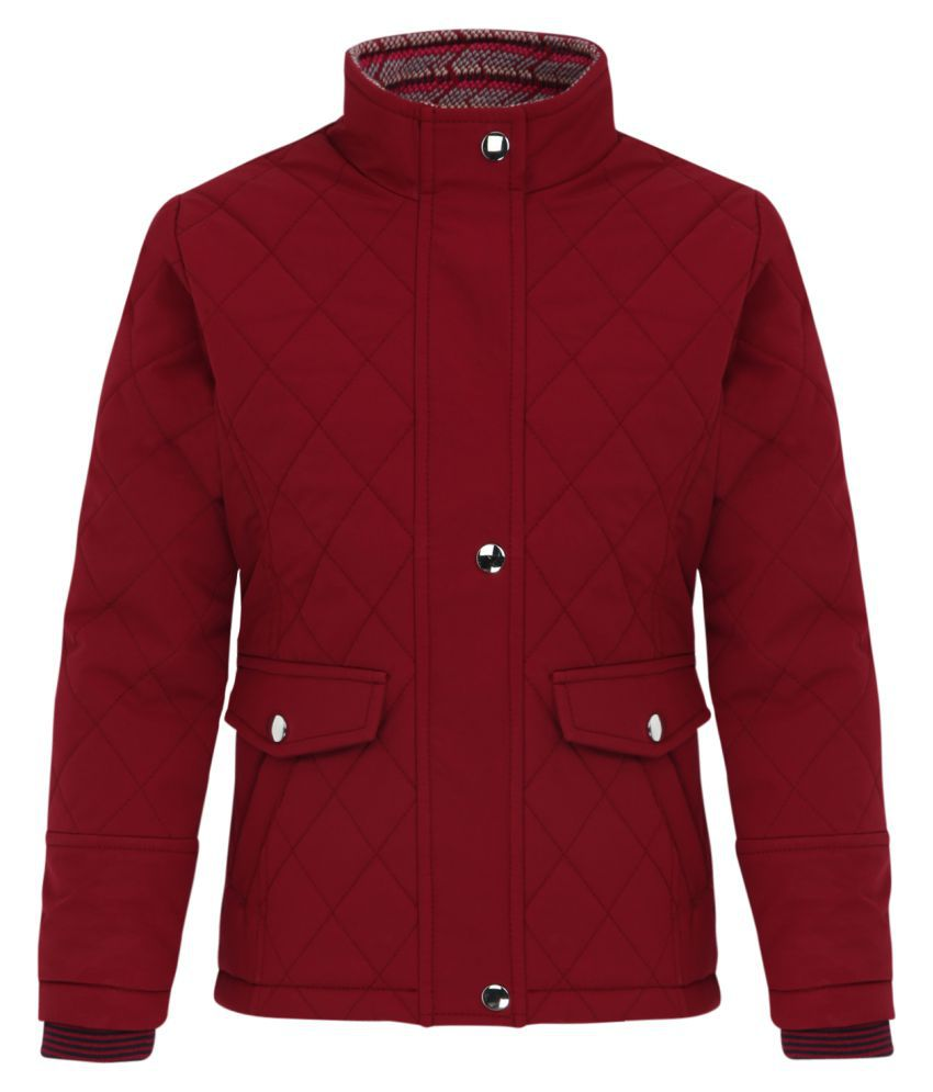 Monte Carlo Maroon Solid Polyester Polo Collar Jackets