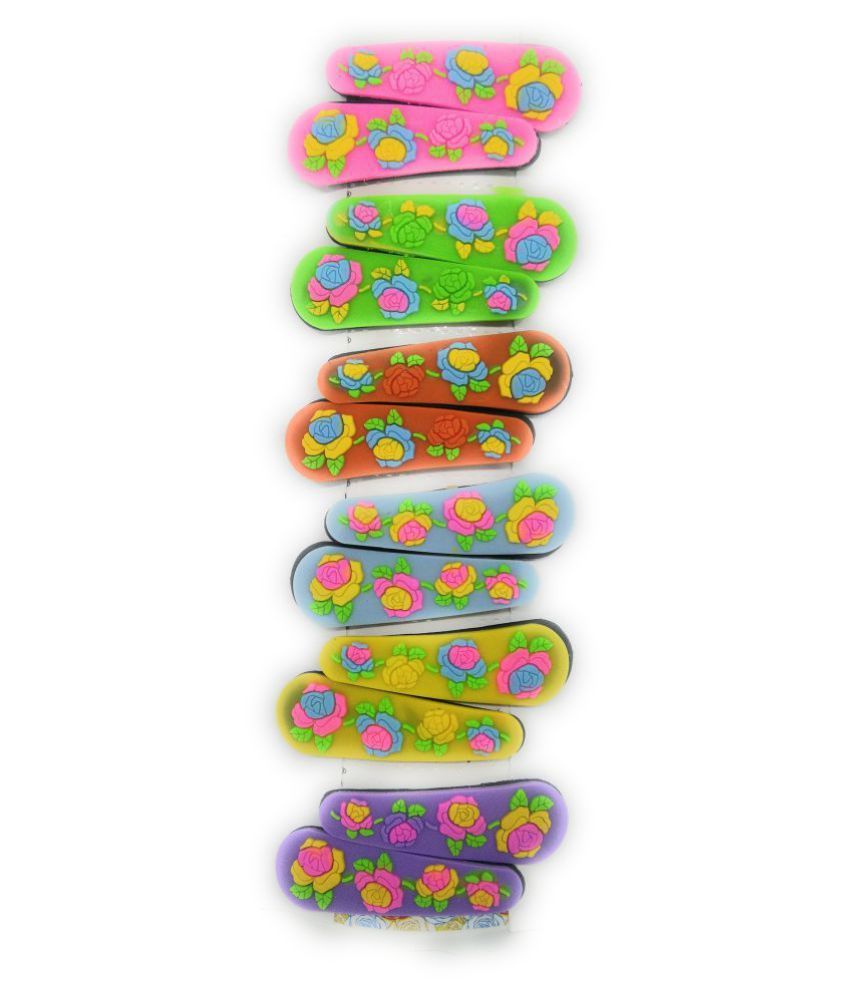 Tic-Tac Hair Clips for Kids, Flower Theme  on Silicon with Metal Base, 6 Pairs (12 Pcs), Mix Color, Smooth Finish