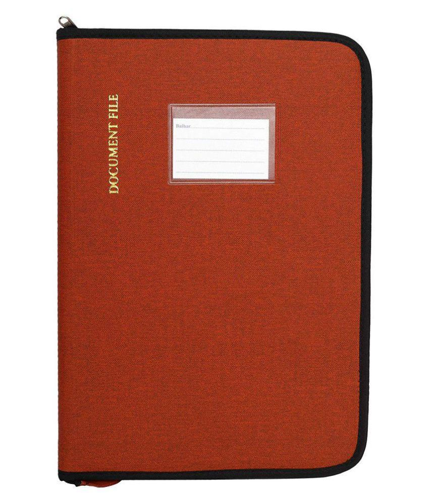 KolorFish Canvas Material Professional Files and Folders, Certificate, Documents Holder (20 Leafs, Size - FS)-(3110) (Red)