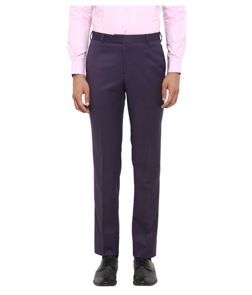 Raymond Purple Slim -Fit Flat Trousers